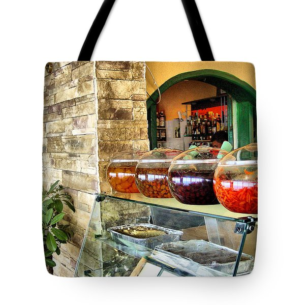 Greek Isle Restaurant Still Life Tote Bag