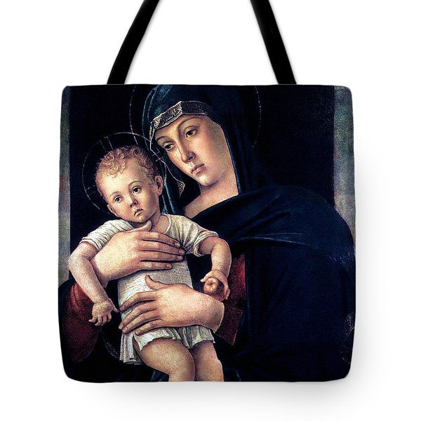 Tote Bag featuring the painting Greek Madonna With Child 1464 Giovanni Bellini by Karon Melillo DeVega