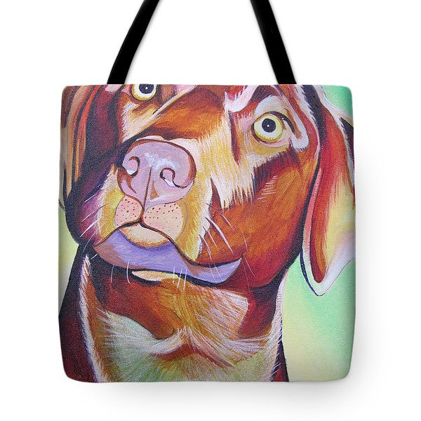 Tote Bag featuring the painting Green And Brown Dog by Joshua Morton