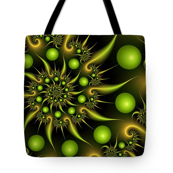 Tote Bag featuring the digital art Green And Gold by Gabiw Art