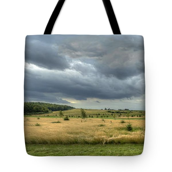 Tote Bag featuring the photograph Green And Yellow Meadows At A Golfing Club In Kashubia Of Poland by Julis Simo