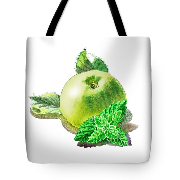 Tote Bag featuring the painting Green Apple And Mint Happy Union by Irina Sztukowski