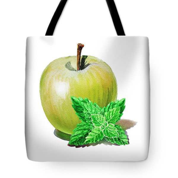 Tote Bag featuring the painting Green Apple And Mint by Irina Sztukowski