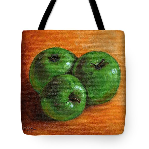 Green Apples Tote Bag by Asha Sudhaker Shenoy