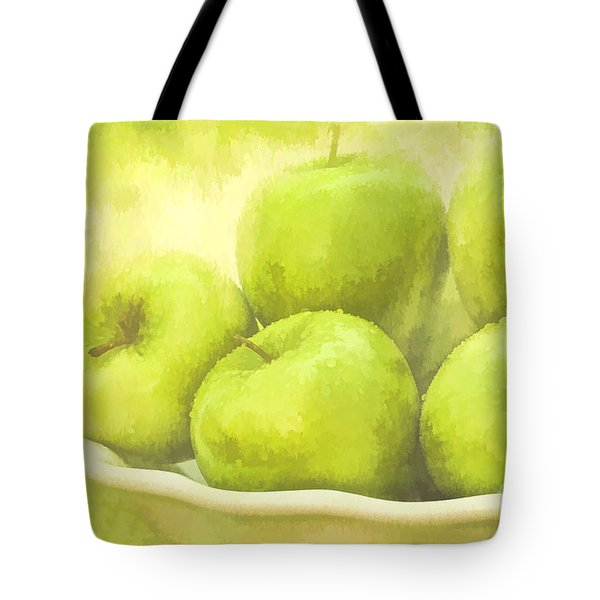 Green Apples Tote Bag by Linda Blair