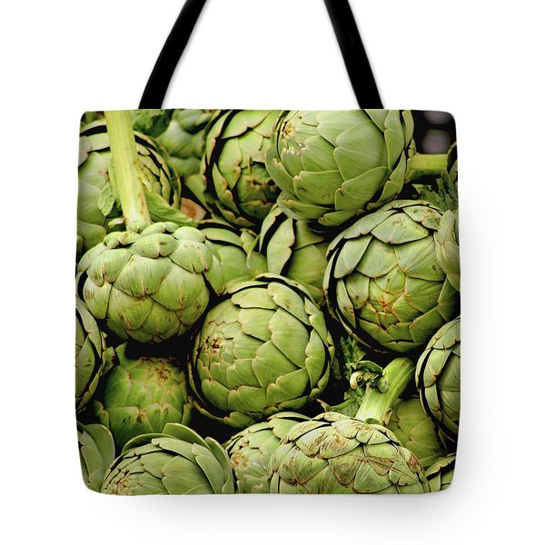 Green Artichokes Tote Bag by Art Block Collections