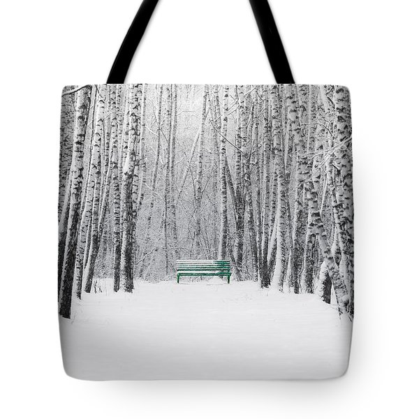 Green Bench Tote Bag by Alexander Senin