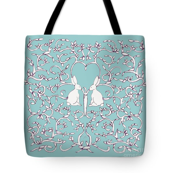 Green Blue Rabbits Leaves Tote Bag