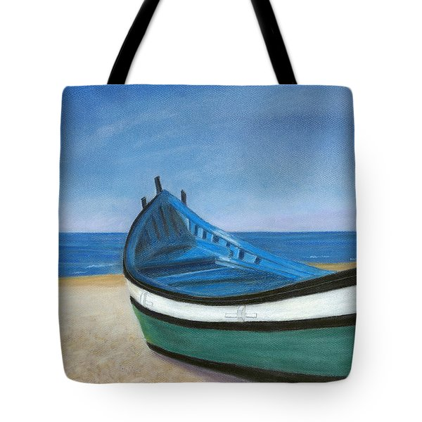 Green Boat Blue Skies Tote Bag