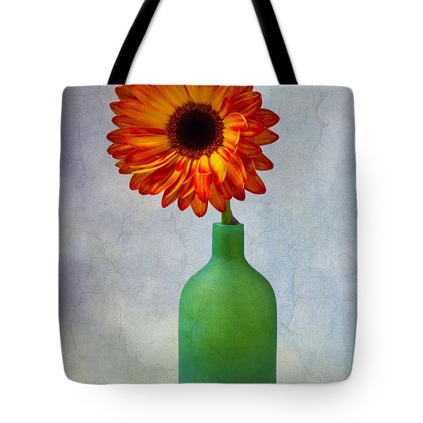 Green Bottle With Orange Daisy Tote Bag