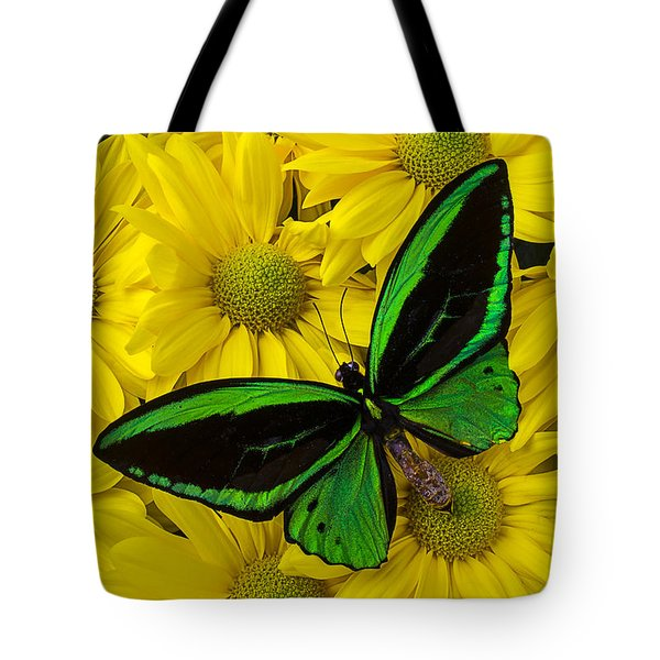 Green Butterfly On Yellow Mums Tote Bag by Garry Gay
