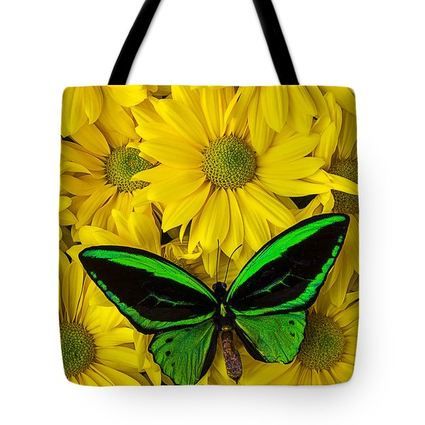Green Butterfly Resting Tote Bag by Garry Gay