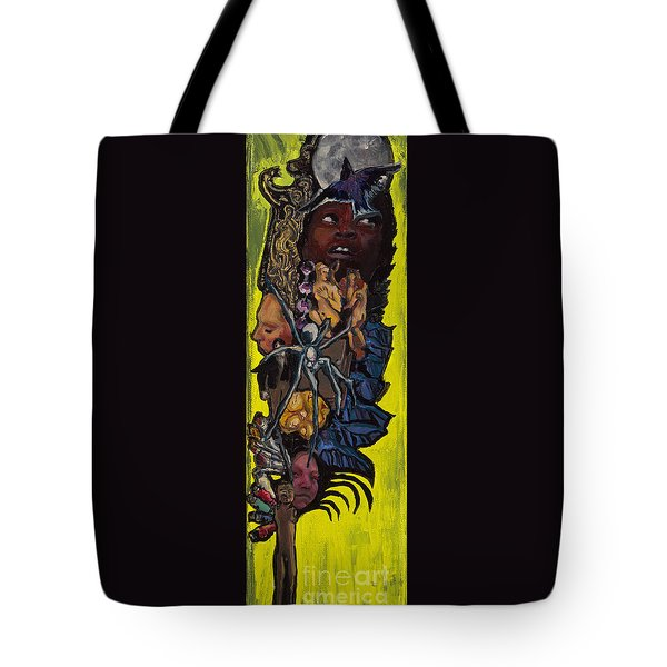 Green Crow Feather Tote Bag by Emily McLaughlin