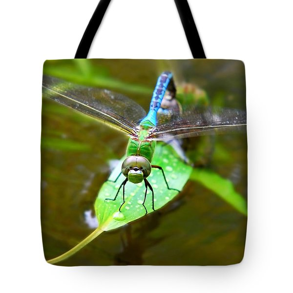 Green Darner Dragonfly Tote Bag by Christina Rollo