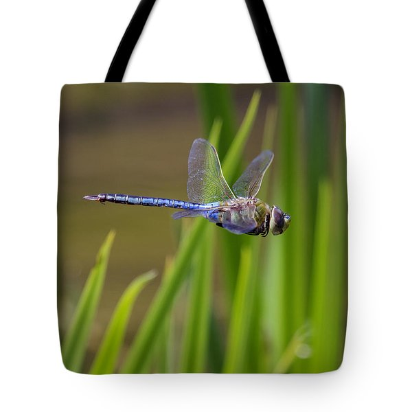 Tote Bag featuring the photograph Green Darner Flight by David Lester