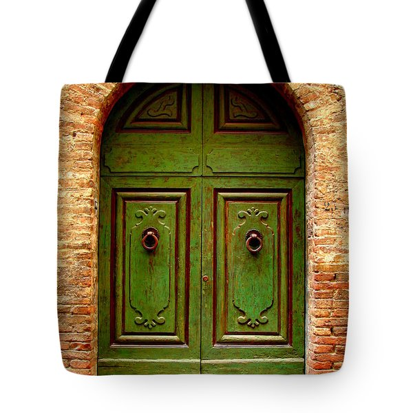 Green Door Tote Bag by Ramona Johnston