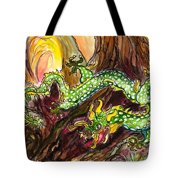 Green Earth Dragon Tote Bag
