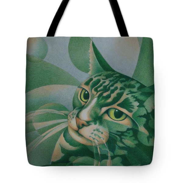 Green Feline Geometry Tote Bag