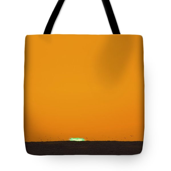 Green Flash Bird Pile Tote Bag by Sean Davey