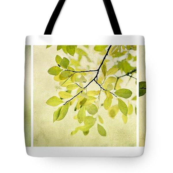Green Foliage Triptychon Tote Bag by Priska Wettstein