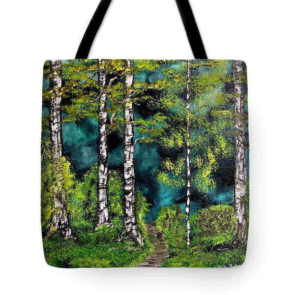 Green Forest Tote Bag by Valerie Ornstein