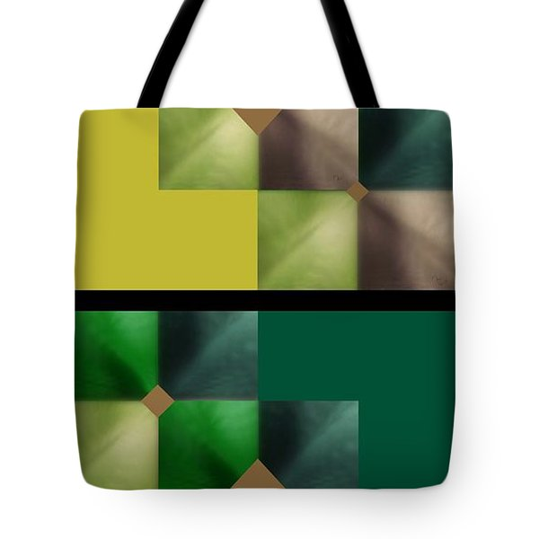 Tote Bag featuring the digital art Green Glow Check by Ann Calvo