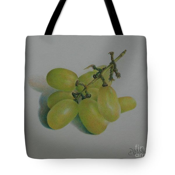 Tote Bag featuring the painting Green Grapes by Pamela Clements