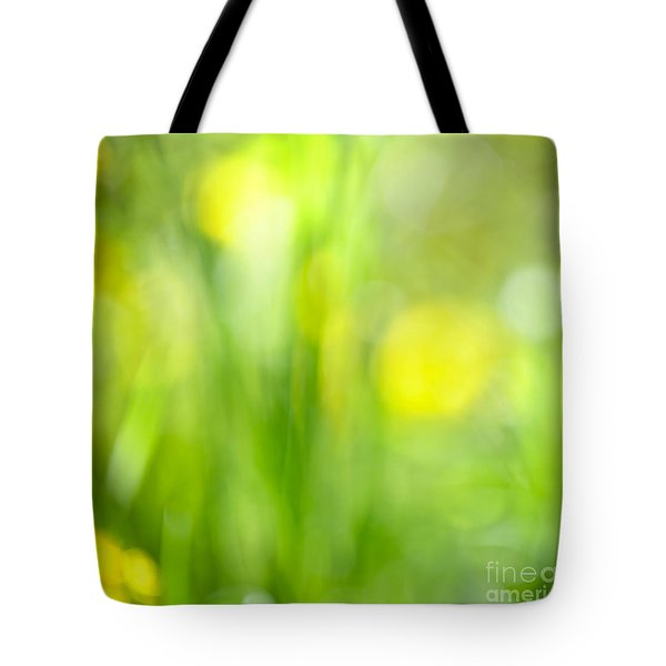 Green Grass With Yellow Flowers Abstract Tote Bag