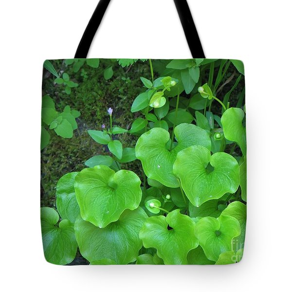 Tote Bag featuring the photograph Green Growing Hearts by Michele Penner