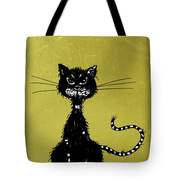 Green Grunge Evil Black Cat Tote Bag