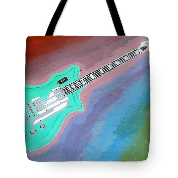 Tote Bag featuring the painting Green Guitar by Magdalena Frohnsdorff