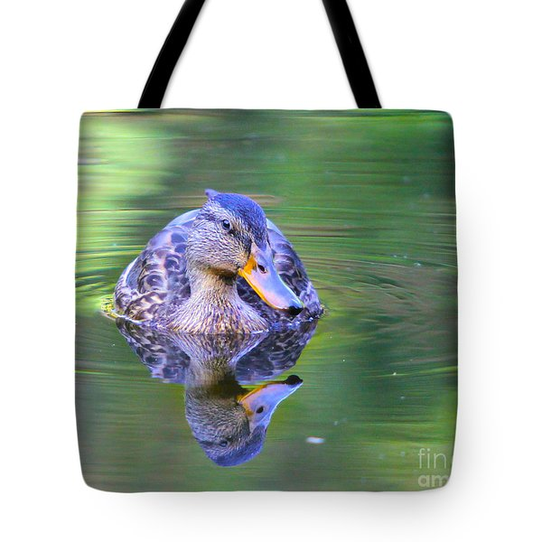 Green-headed Duck At Sunset Tote Bag by Jivko Nakev