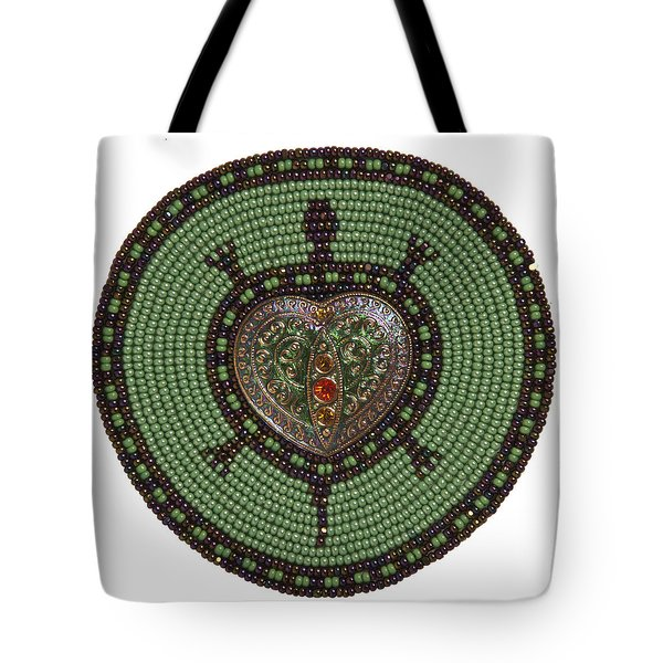 Green Heart Turtle Tote Bag