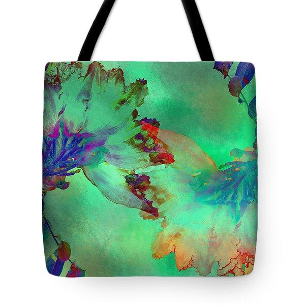 Green Hibiscus Mural Wall Tote Bag