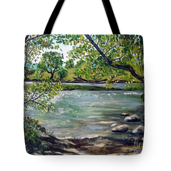 Green Hill Park On The Roanoke River Tote Bag by Julie Brugh Riffey