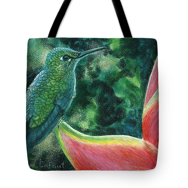 Tote Bag featuring the drawing Green Hummingbird by Sandra LaFaut
