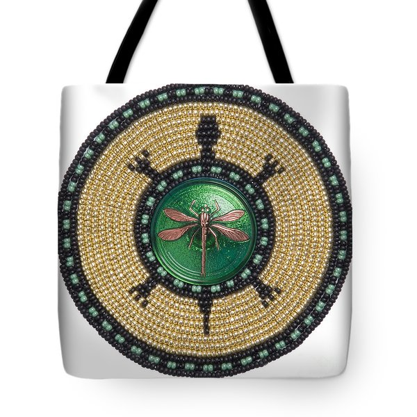 Green Jewel Dragonfly Turtle Tote Bag