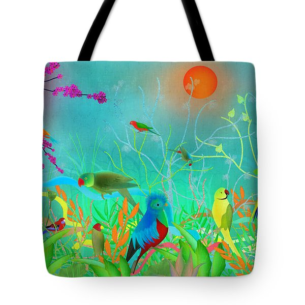 Green Landscape With Parrots - Limited Edition Of 15 Tote Bag by Gabriela Delgado