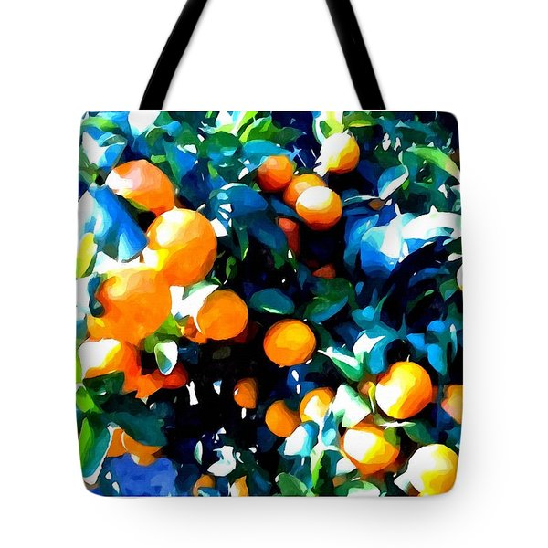 Green Leaves And Mature Oranges On The Tree Tote Bag by Lanjee Chee