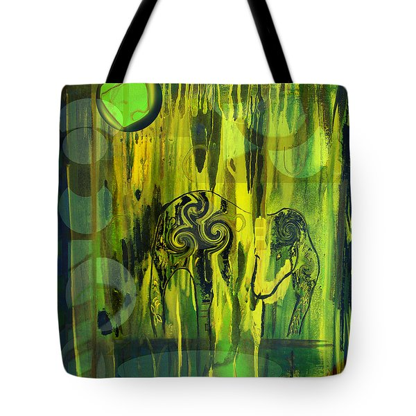 Tote Bag featuring the painting Green Light by Yul Olaivar