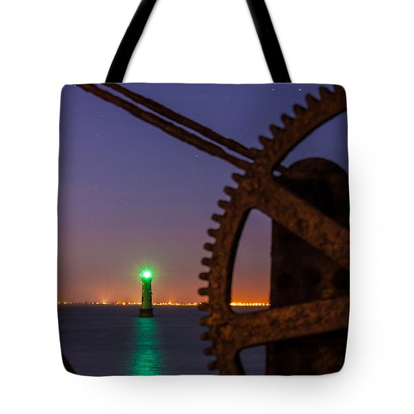 Green Lighthouse Tote Bag by Semmick Photo