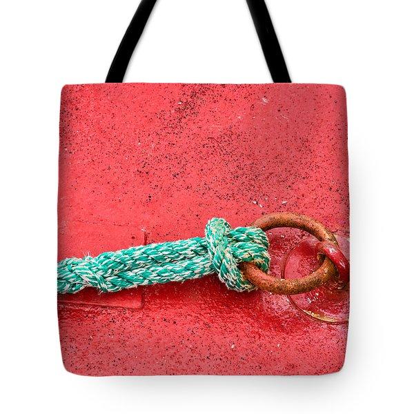Green Marine Rope On Red Ship Tote Bag by Matthias Hauser