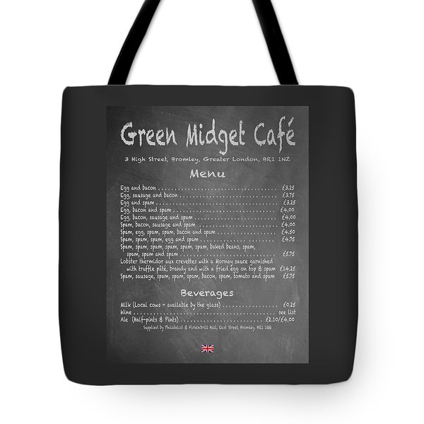 Green Midget Cafe Chalkboard Menu Tote Bag