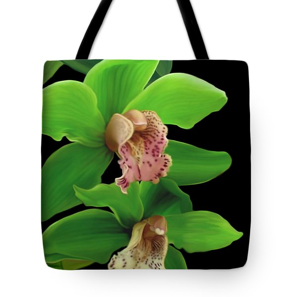 Green Orchids Tote Bag