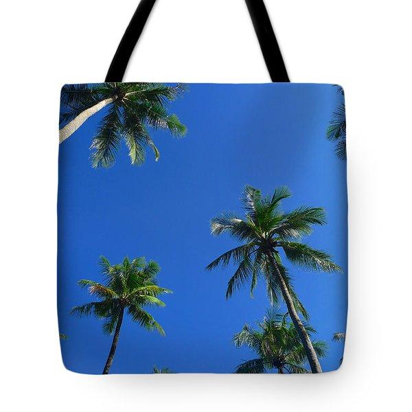 Green Palms Blue Sky Tote Bag