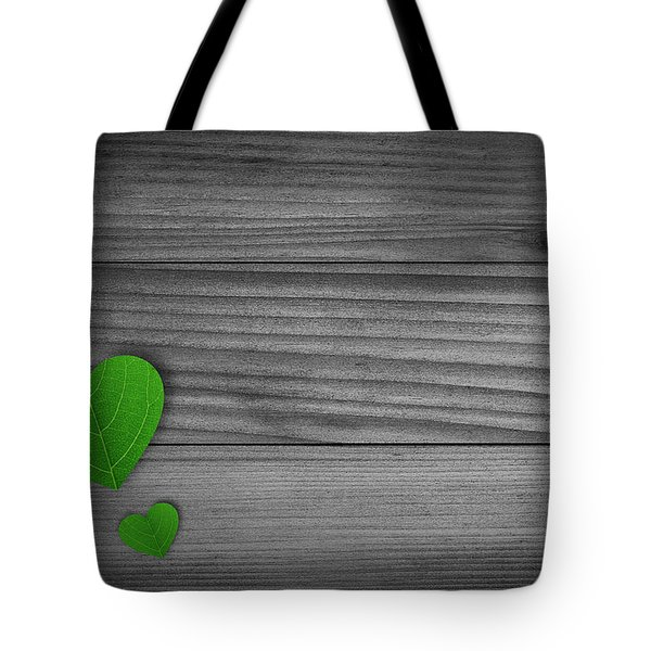 Green Pedal Shaped Hearts Tote Bag by Aged Pixel