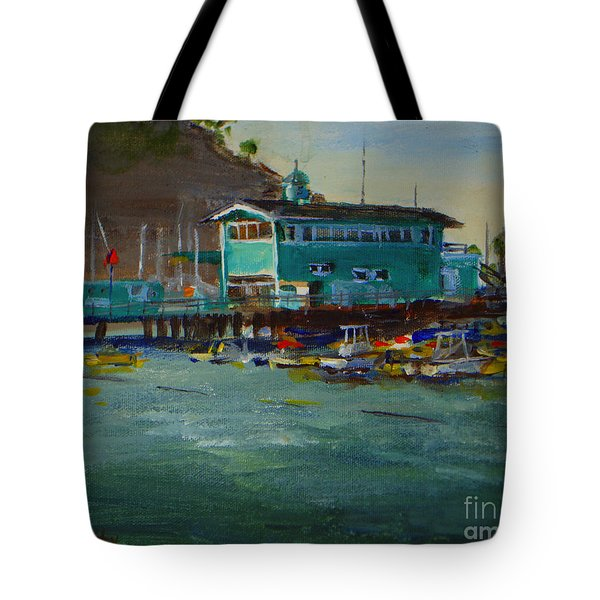 Green Pier Early Evening Tote Bag