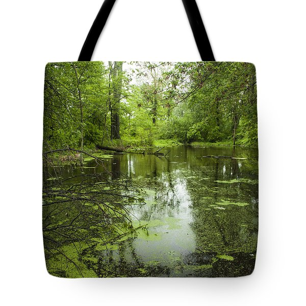 Green Blossoms On Pond Tote Bag by Jerry Cowart