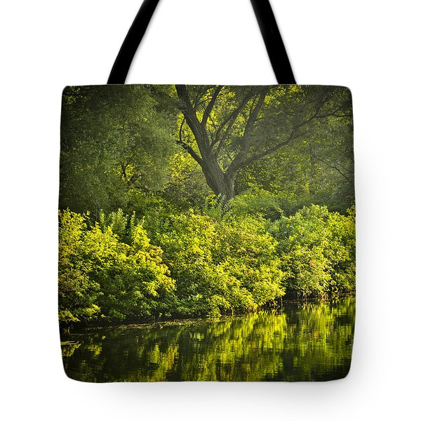 Green Reflections In Water Tote Bag
