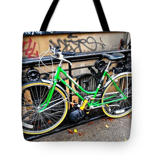 Green Schwinn Bike  Nyc Tote Bag